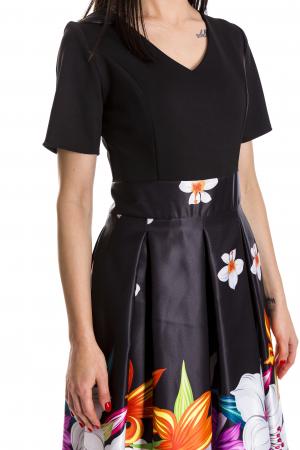 Rochie Azaria cu fusta din tafta neagra si imprimeu multicolor [3]