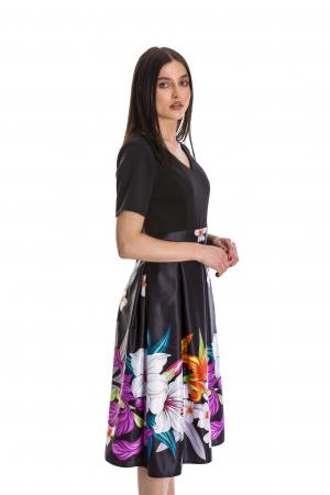 Rochie Azaria cu fusta din tafta neagra si imprimeu multicolor [2]