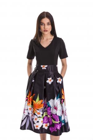 Rochie Azaria cu fusta din tafta neagra si imprimeu multicolor [1]