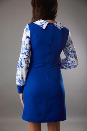 Rochie CATALINA albastra cu maneci din matase [2]