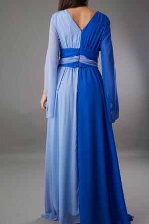 Rochie DIANA lunga in doua culori albastru si bleu [3]