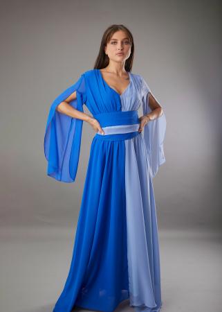 Rochie DIANA lunga in doua culori albastru si bleu [0]