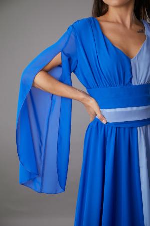 Rochie DIANA lunga in doua culori albastru si bleu [2]