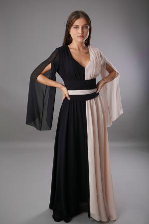 Rochie DIANA  lunga in doua culori roze negru [0]