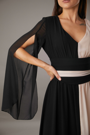 Rochie DIANA  lunga in doua culori roze negru [2]