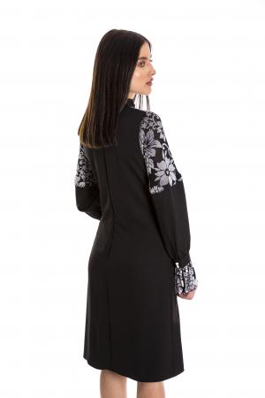 Rochie Ellie neagra cu model din catifea gri [4]