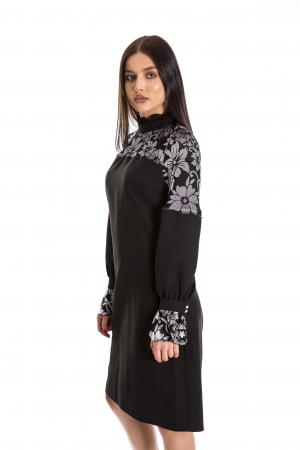 Rochie Ellie neagra cu model din catifea gri [2]