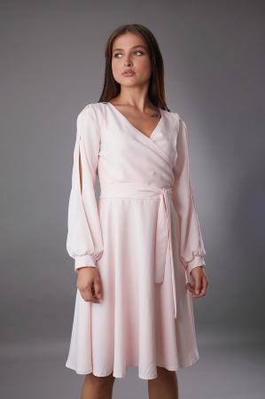 Rochie EMA roz cu maneci decupate [2]