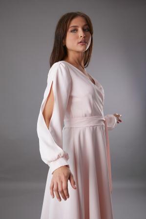 Rochie EMA roz cu maneci decupate [3]