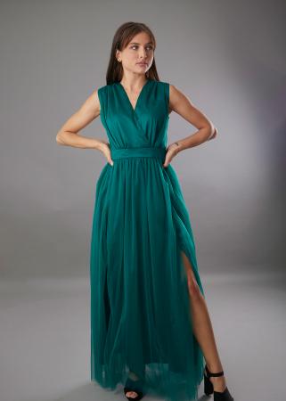 Rochie IRINA  lunga verde din tulle [0]