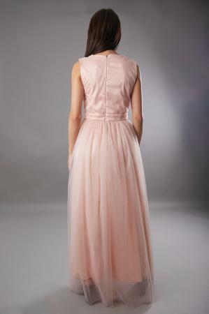 Rochie IRINA  lunga roz din tulle [2]