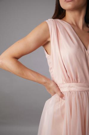 Rochie IRINA  lunga roz din tulle [1]