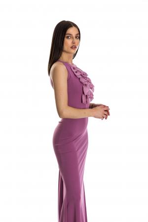 Rochie Sindy lunga roz cu voal aplicat [2]