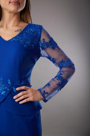 Rochie SYLVIA albastra cu aplicatii din dantela [2]