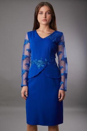 Rochie SYLVIA albastra cu aplicatii din dantela [0]