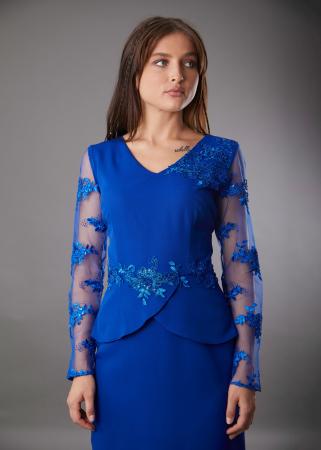 Rochie SYLVIA albastra cu aplicatii din dantela [1]
