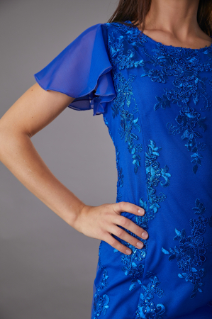 Rochie TAMARA albastra cu dantela si maneca din voal [1]