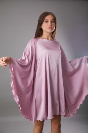 Rochie TARA roz cu maneca tip fluture [0]