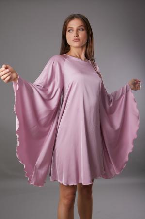 Rochie TARA roz cu maneca tip fluture [2]