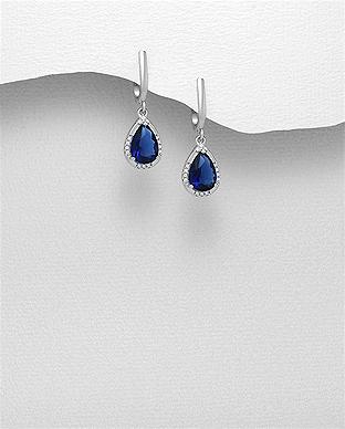Cercei argint cu zirconiu albastru 1C-110 - Elmio.ro 0
