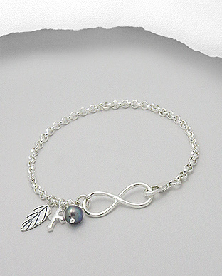 Bratara infinit din argint cu pandantive mici si perla de cultura - Elmio.ro 0