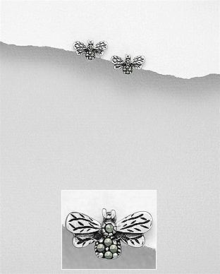 Cercei din argint albinuta cu marcasite 1C-220 - bijuterii din argint 0