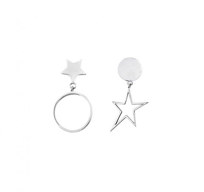 Cercei asimetrici din argint stea si luna 3CC-077 0