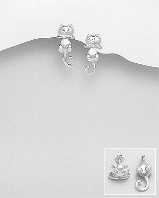 Cercei argint dubli pisicuta 1C-329 - Elmio.ro 0