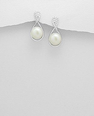 Cercei infinit argint cu zirconiu si perla de cultura 0