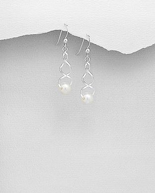 Cercei argint model infinit si perla de cultura - Elmio.ro 0