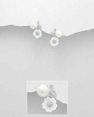 Cercei din argint cu perla de cultura si floricica scoica alba - Elmio.ro 0