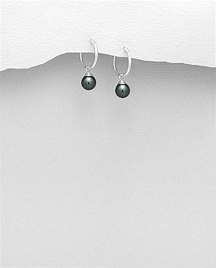 Cercei argint veriga cu perla sintetica neagra 1C-22 0
