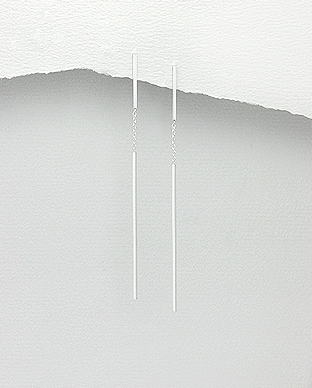 Cercei lungi din argint cu bara si lantisor 1C-200 0