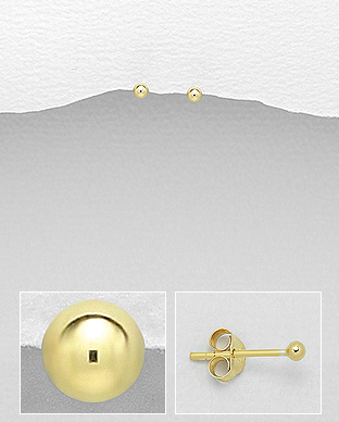 Cercei bobita din argint placati cu aur 1C-391 0
