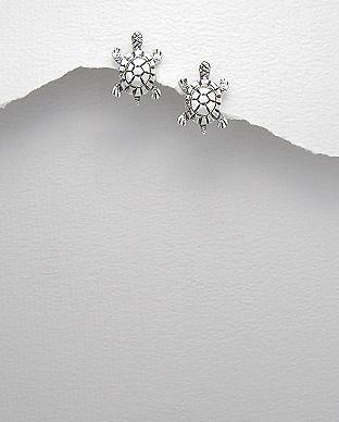 Cercei broascuta testoasa din argint patinat 1C-191 0