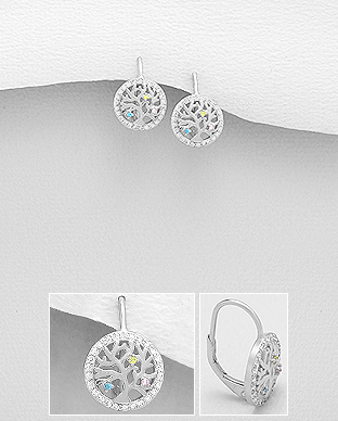 Cercei Copacul Vietii din argint cu zirconia 1C-107 0