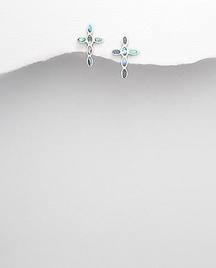 Cercei cruce din argint - abalone verde 1C-40 - Elmio.ro 0
