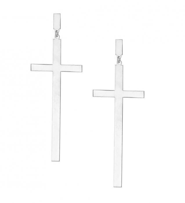 Cercei cruce din argint lungi CM12037 [0]