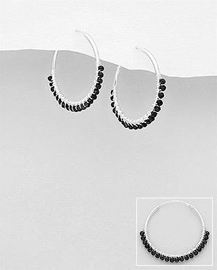 Cercei cu agate negre din argint 1C-429 - elmio 0