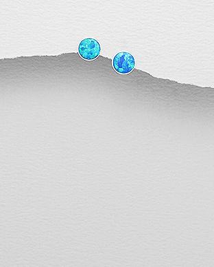 Cercei cu opal albastru din argint - Freya 1C-378 0