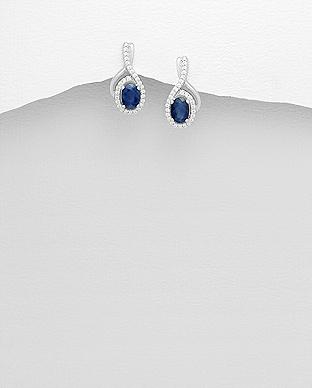 Cercei cu safir albastru si cubic zirconia din argint 925 1C-259 0
