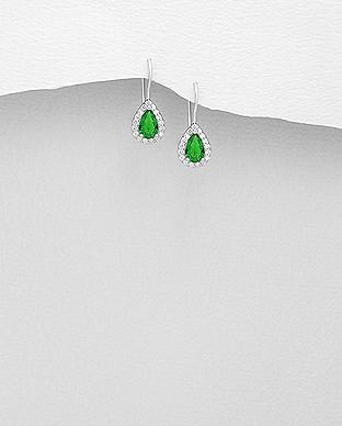 Cercei mici din argint cubic zirconia verde 1C-60V 0