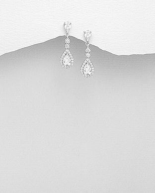 Cercei argint cu pietricele albe 1C-61 - Elmio.ro 0