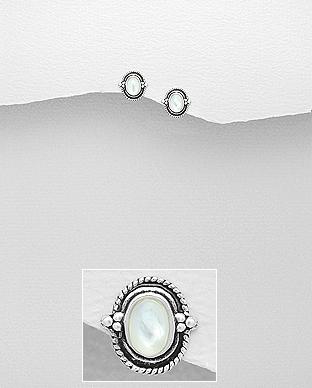 Cercei din argint 925 - sidef alb 1C-41 - Elmio.ro 0