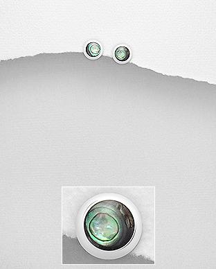 Cercei din argint abalone verde 1C-39 - Elmio.ro 0