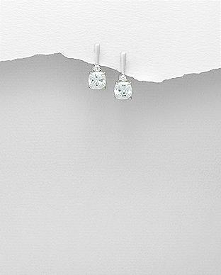 Cercei din argint cu piatra patrata cubic zirconia Anya 1C-53 0
