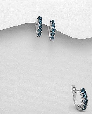 Cercei din argint cu topaz albastru Claire 1C-408 0