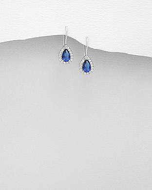 Cercei argint mici cubic zirconia albastru 1C-60B 0