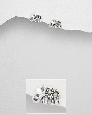 Cercei din argint elefant cu marcasite 1C-216 0