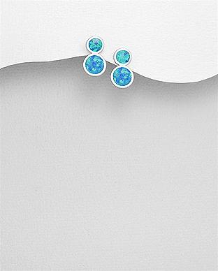 Cercei din argint cu opal albastru 1C-386 0